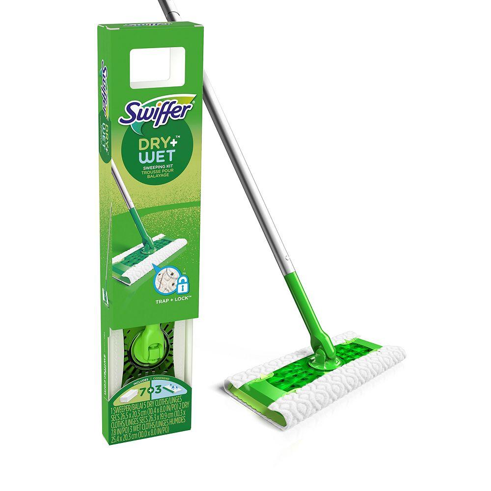Swiffer Trousse de départ de nettoyage de plancher tout usage Swiffer Sweeper Dry + Wet avec linges Heavy Duty, comprend : 1 balai et 10 recharges