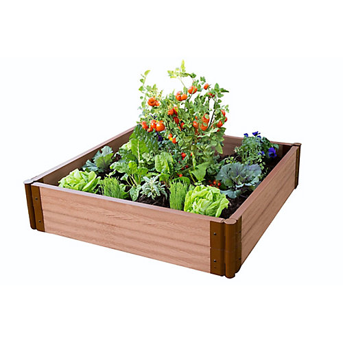 Tool-Free Classic Sienna Raised Garden Bed 4 ft. x 4 ft. x 11 inch  2 inch profile