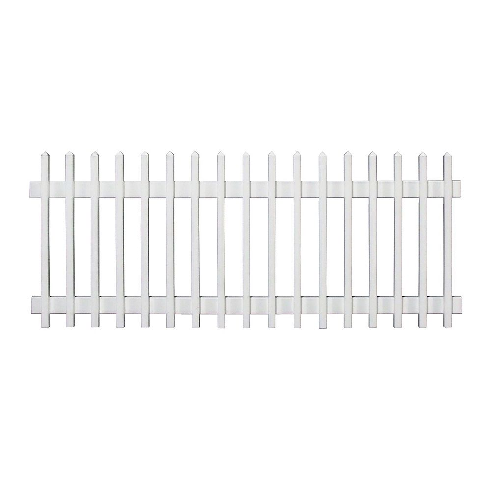 Plastival 96 Inch x 36 Inch Pre-Assembled Vinyl Picket Fence Section (white)
