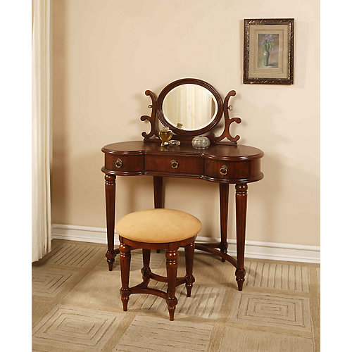 Antique Mahogany Vanity, Mirror & Bench
