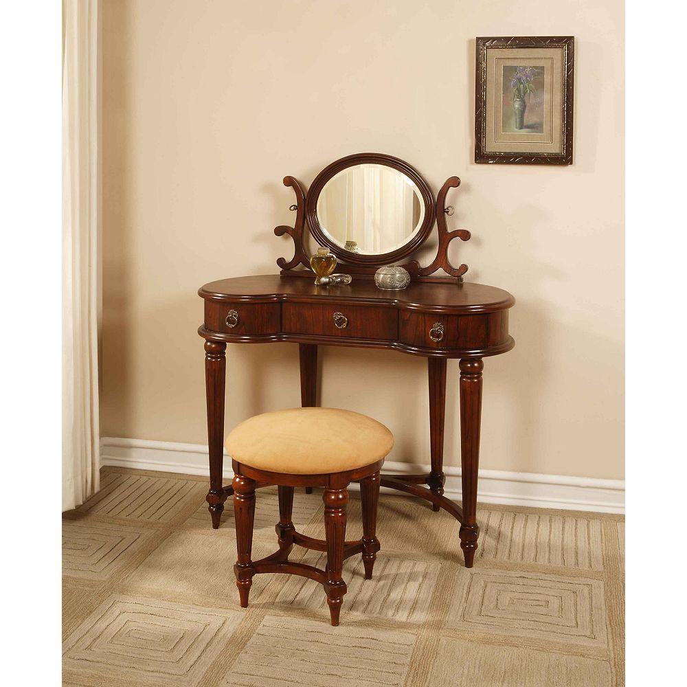 Powell Coiffeuse, miroir et banc - acajou antique