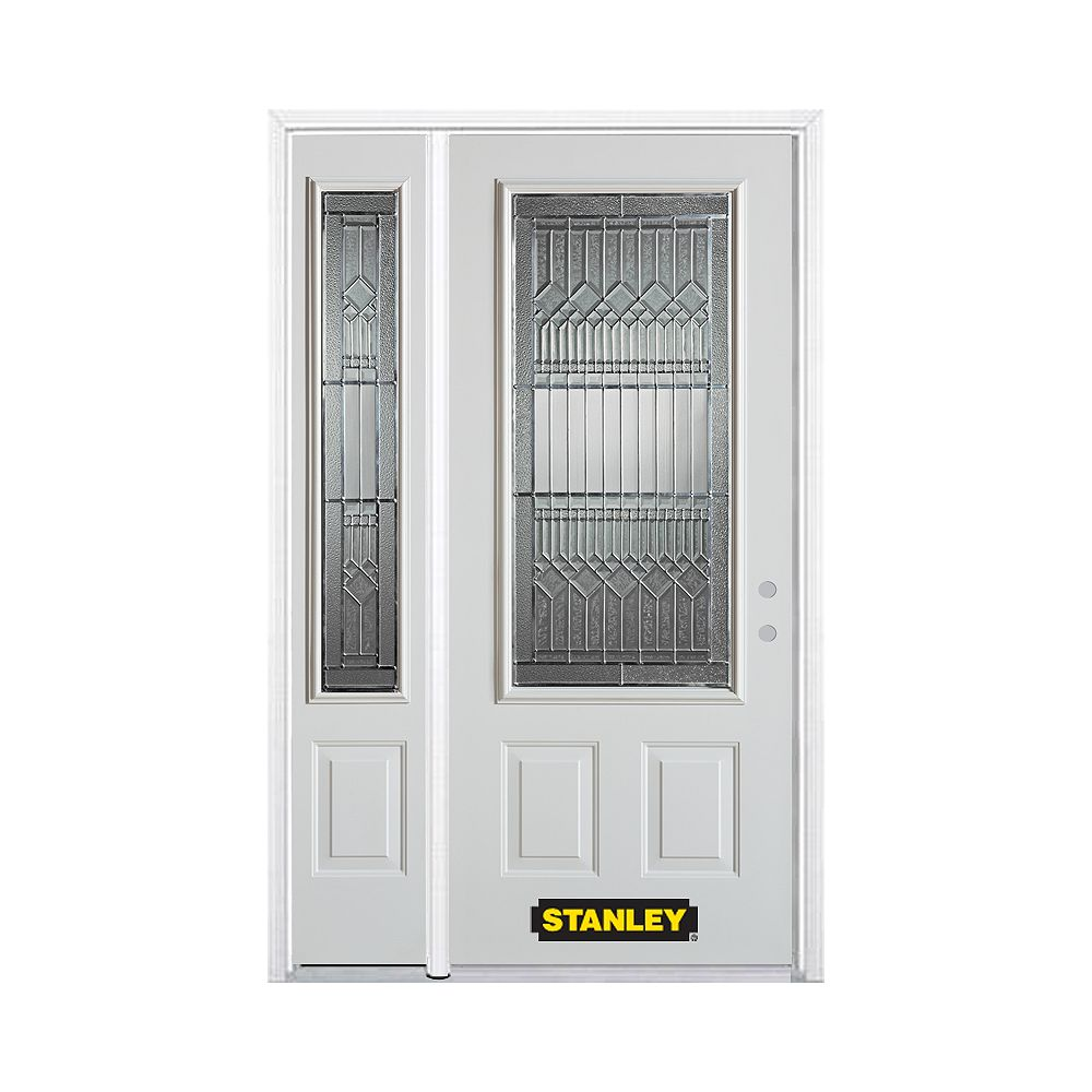 STANLEY Doors 50.25 inch x 82.375 inch Lanza Patina 3/4 Lite 2-Panel Prefinished White Left-Hand Inswing Steel Prehung Front Door with Sidelite and Brickmould
