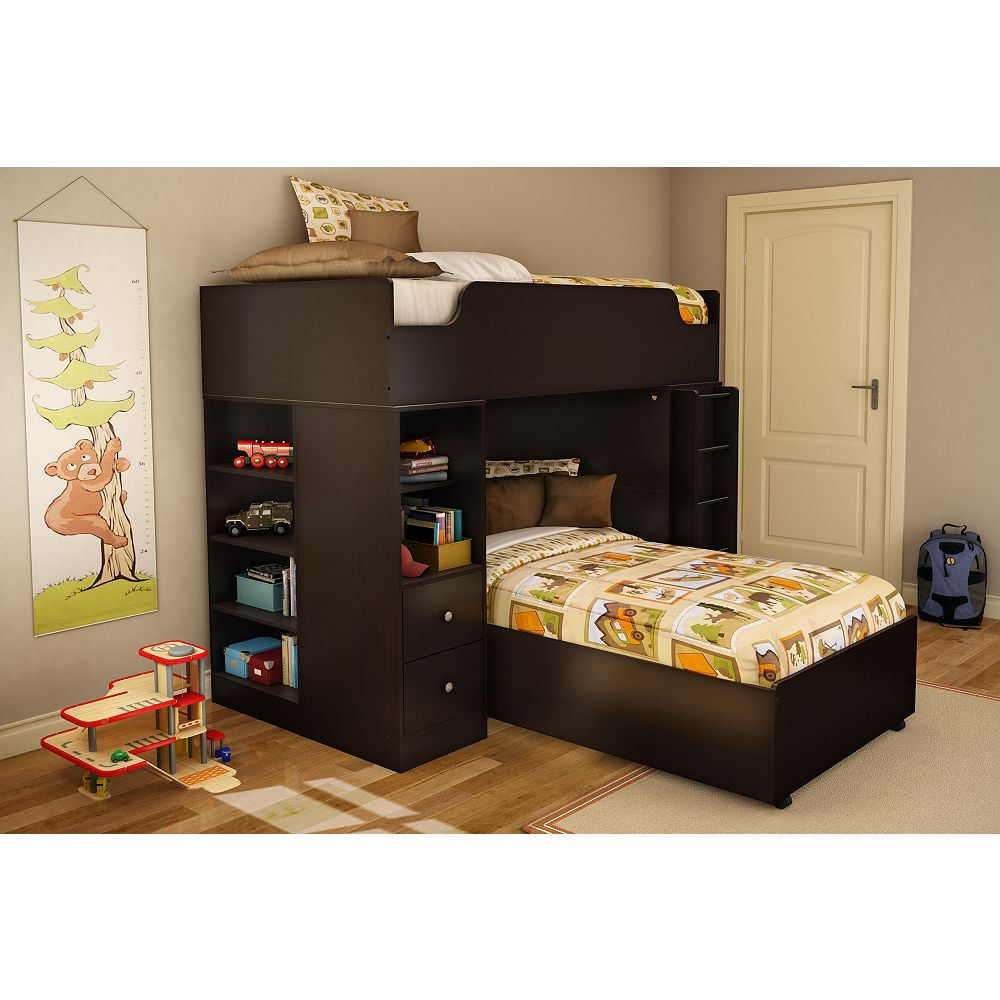 South Shore Collection Logik Twin Over Twin Loft Bed Chocolate