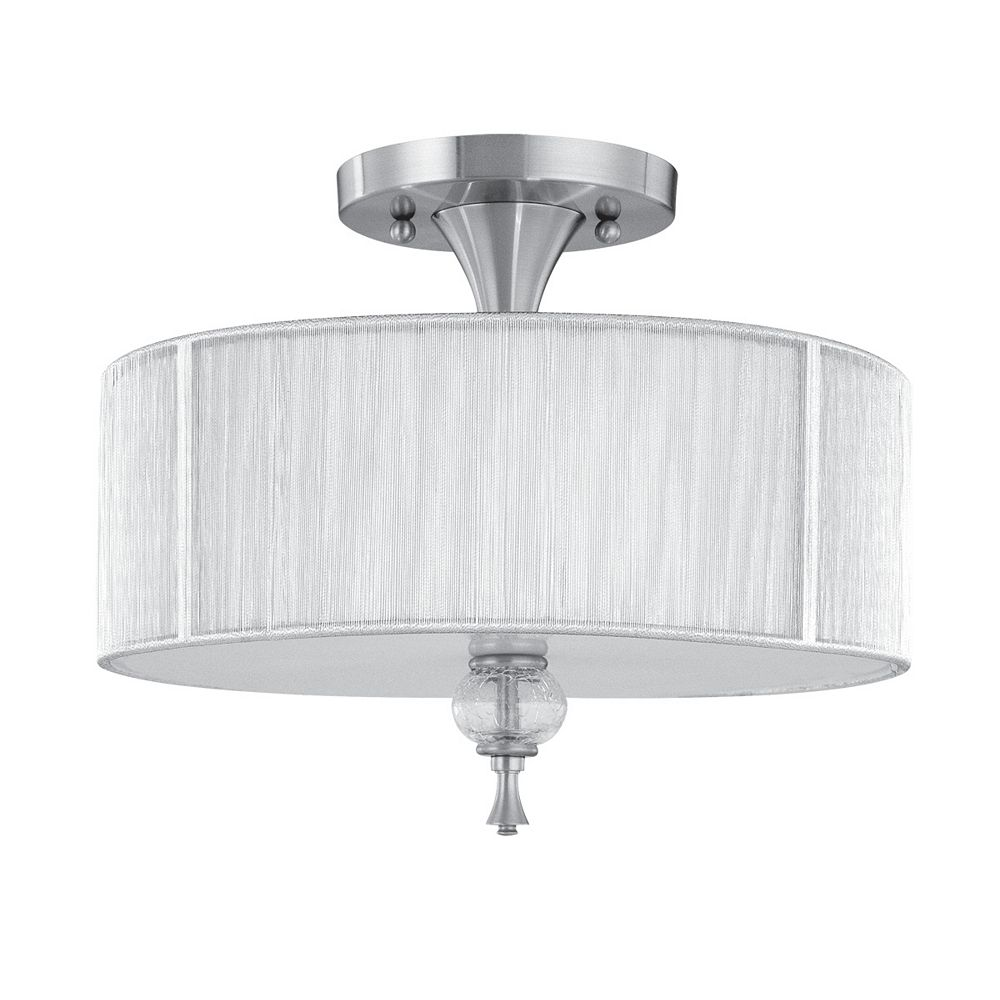 World Imports Plafonnier semi-encastré à trois lampes au fini nickel brossé de la Collection Bayonne