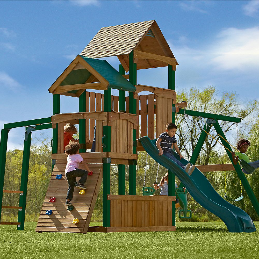 Timber-Bilt Ensemble de jeux Sky Tower avec glissoire Alpine et Tuff Wood