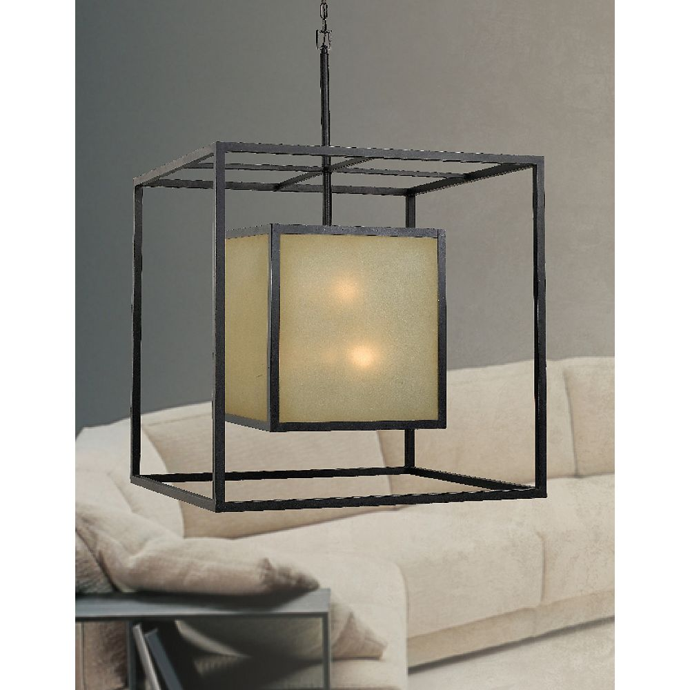 World Imports Suspension carrée à douze lampes au fini bronze vieilli