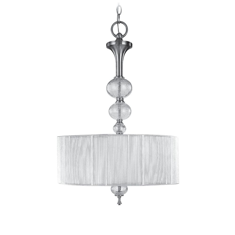 World Imports Bayonne Collection 3-Light 120 in. Hanging Brushed Nickel Inverted Pendant
