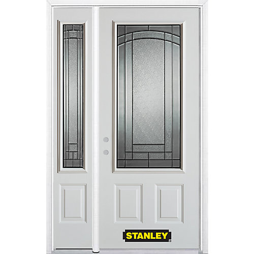 52.75 inch x 82.375 inch Chatham Patina 3/4 Lite 2-Panel Prefinished White Right-Hand Inswing Steel Prehung Front Door with Sidelite and Brickmould