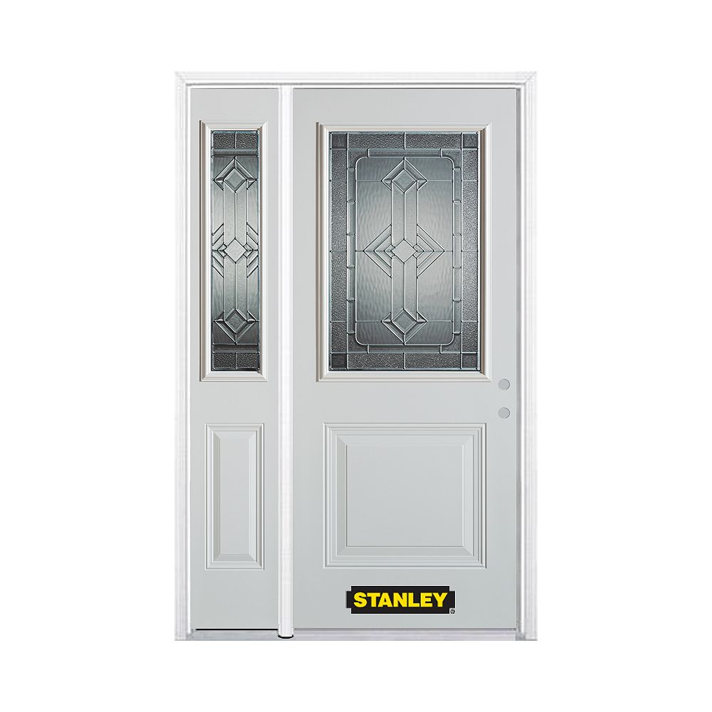 STANLEY Doors 50.25 inch x 82.375 inch Neo Deco Zinc 1/2 Lite 1-Panel Prefinished White Left-Hand Inswing Steel Prehung Front Door with Sidelite and Brickmould - ENERGY STAR®