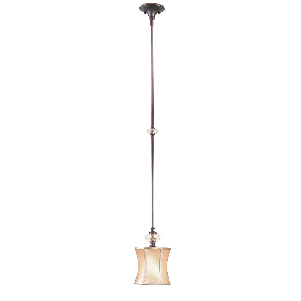 World Imports Mini suspension à une lampe au fini cuivre vieilli de la Collection Chambord