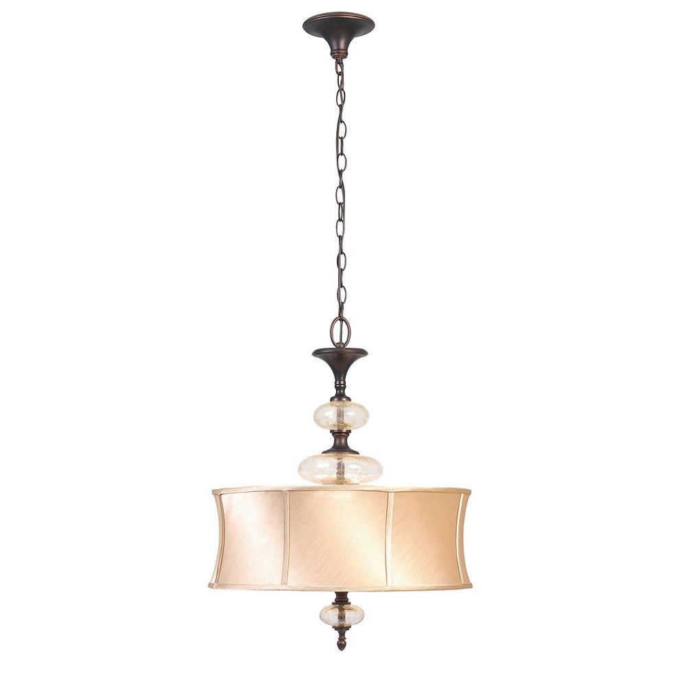 World Imports Suspension à trois lampes au fini cuivre vieilli de la Collection Chambord