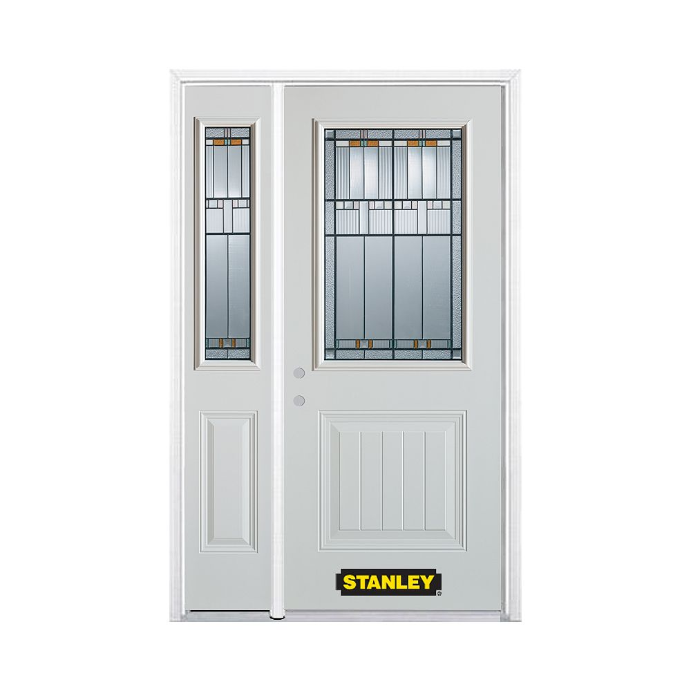 STANLEY Doors 50.25 inch x 82.375 inch Chicago Patina 1/2 Lite 1-Panel Prefinished White Right-Hand Inswing Steel Prehung Front Door with Sidelite and Brickmould