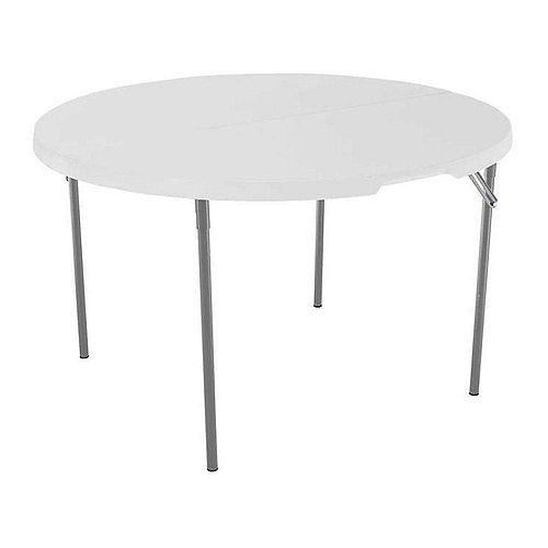 Table pliante commerciale ronde en granit blanc clair de 48 pouces