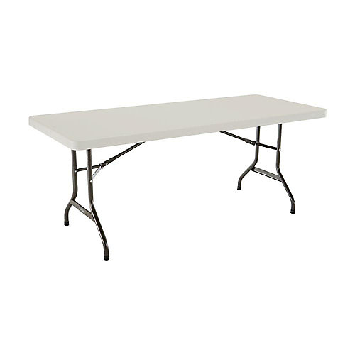 6 ft. Plastic Folding Banquet Table in Almond