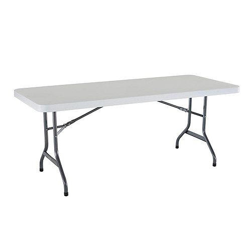 6-Foot White Granite Commercial Grade Folding Table