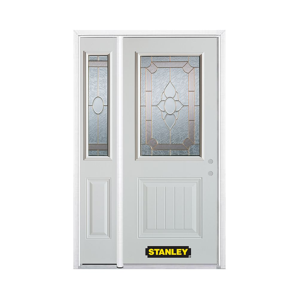 STANLEY Doors 48.25 inch x 82.375 inch Rochelle Brass 1/2 Lite 1-Panel Prefinished White Left-Hand Inswing Steel Prehung Front Door with Sidelite and Brickmould - ENERGY STAR®