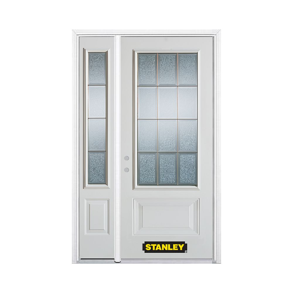 STANLEY Doors 50.25 inch x 82.375 inch Diana Brass 3/4 Lite 1-Panel Prefinished White Right-Hand Inswing Steel Prehung Front Door with Sidelite and Brickmould