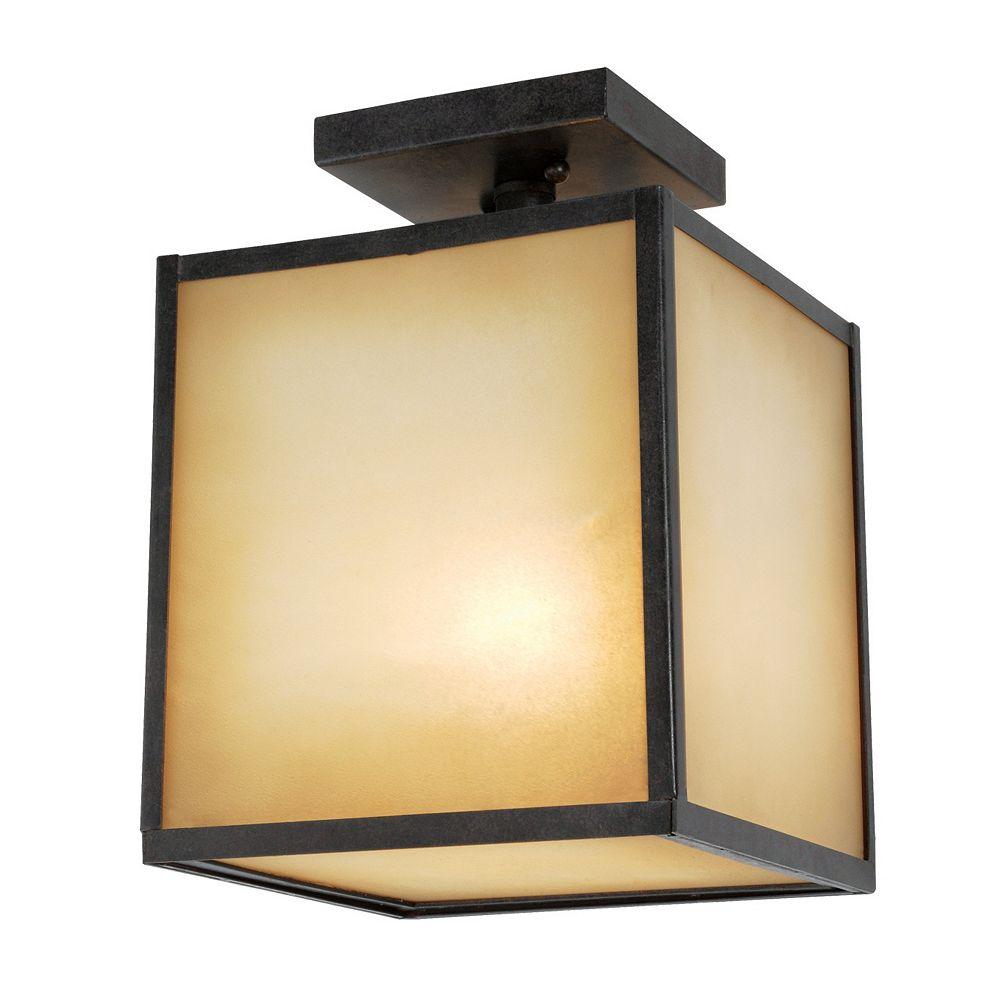 World Imports Plafonnier extérieur à une lampe au fini bronze vieilli de la Collection Hilden