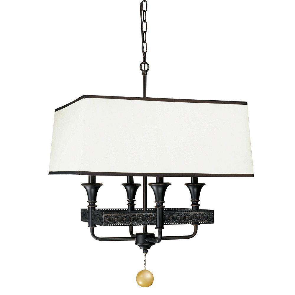 World Imports Suspension à quatre lampes au fini bronze huilé de la Collection Manhattan
