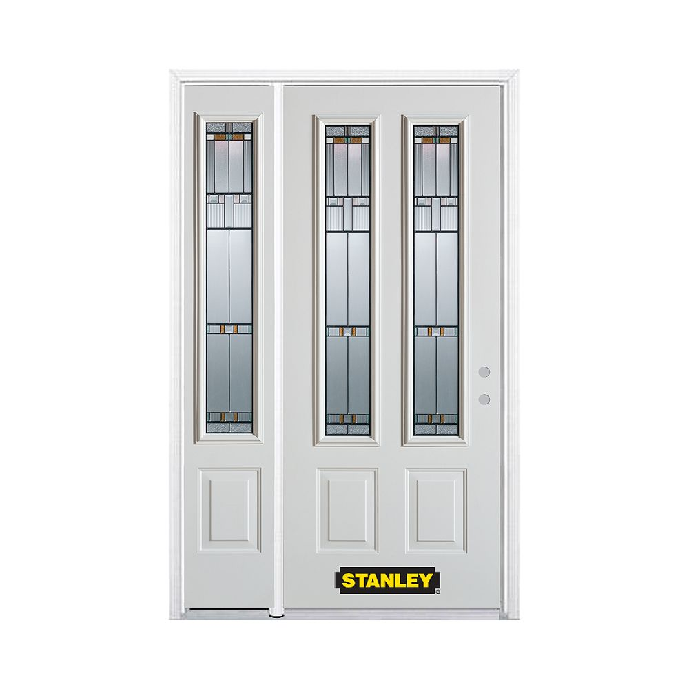 STANLEY Doors 50.25 inch x 82.375 inch Chicago Patina 2-Lite 2-Panel Prefinished White Left-Hand Inswing Steel Prehung Front Door with Sidelite and Brickmould - ENERGY STAR®