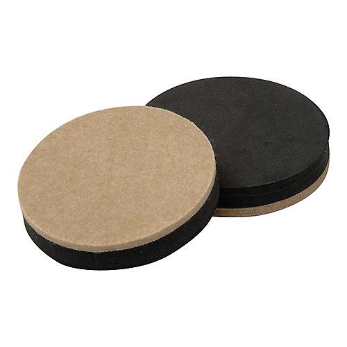 3-1/2 inch Reusable, Round, Felt Furniture Slider Pads (4-Pack)