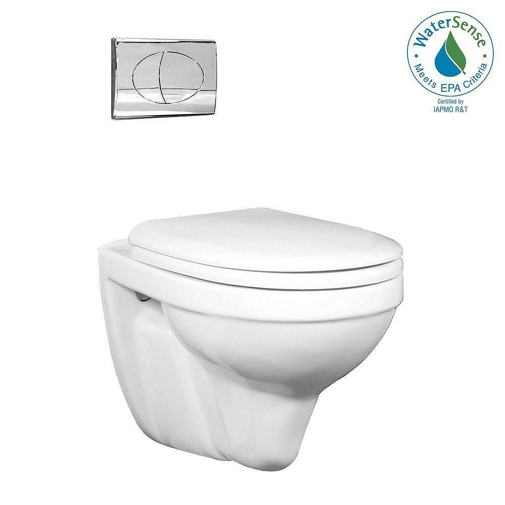 Foremost 2-piece 0.8/1.6 GPF Dual Flush Round Bowl Toilet in White