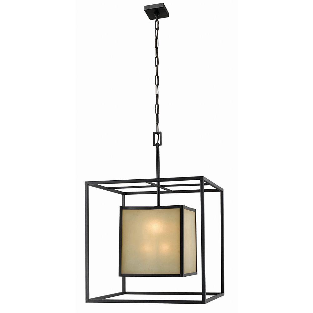 World Imports Suspension à huit lampes au fini bronze vieilli de la Collection Hilden, 120 po