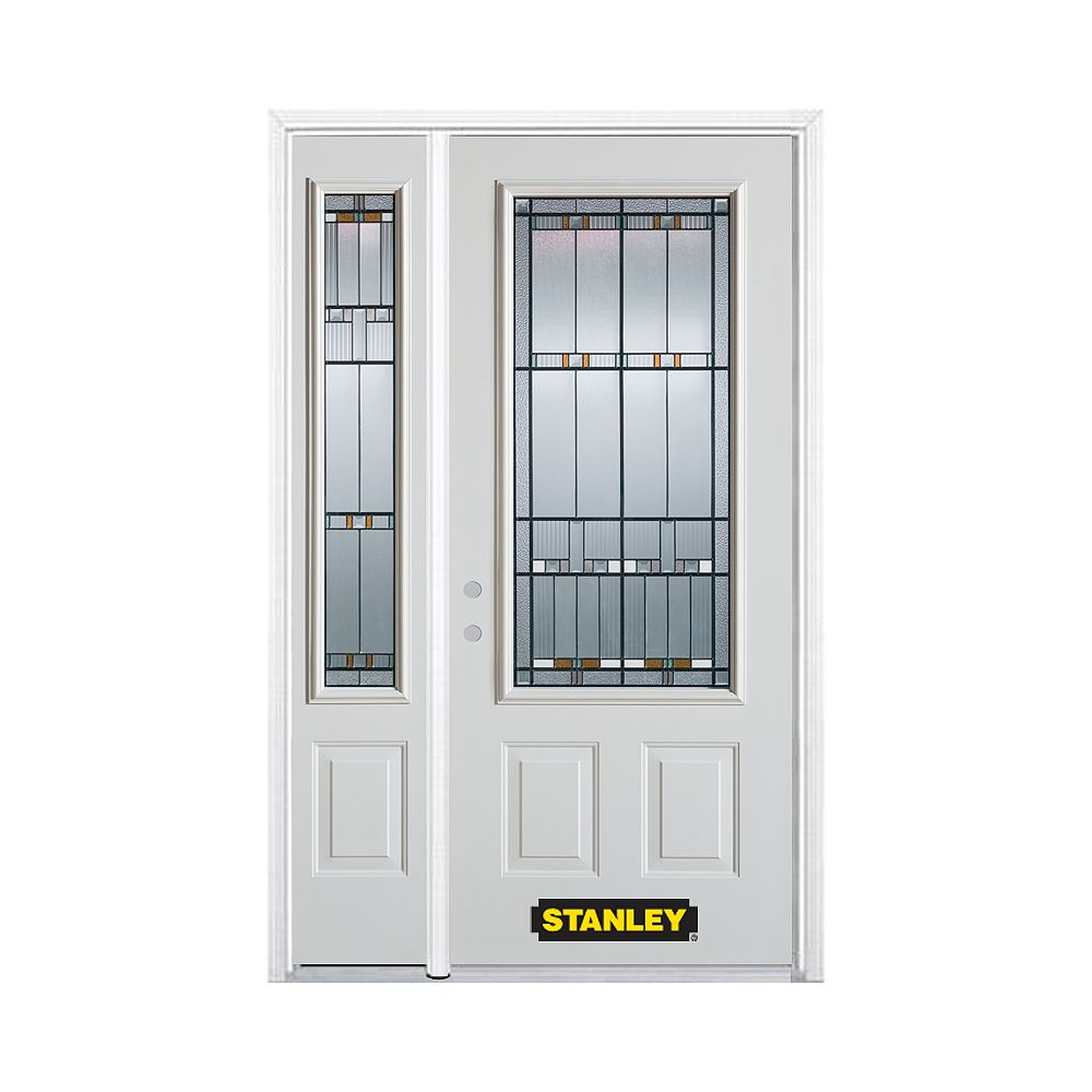 STANLEY Doors 50.25 inch x 82.375 inch Chicago Patina 3/4 Lite 2-Panel Prefinished White Right-Hand Inswing Steel Prehung Front Door with Sidelite and Brickmould