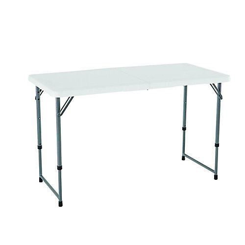 24-inch x 48-inch White Granite Adjustable Height Fold-In-Half Table