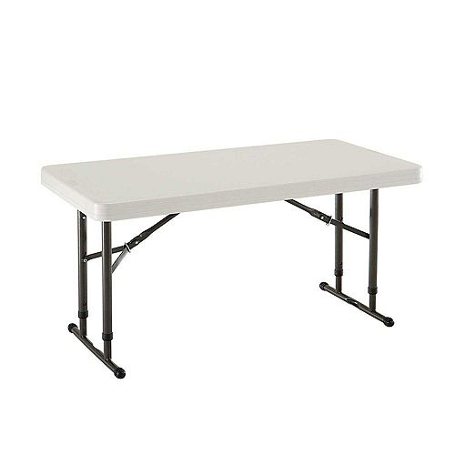 4-Foot Almond Commercial Grade Adjustable Height Folding Table