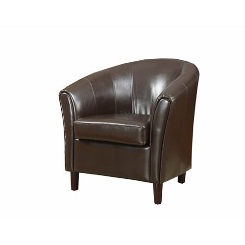 Barrel Modern Club Faux Leather Accent Chair in Brown with Solid Pattern