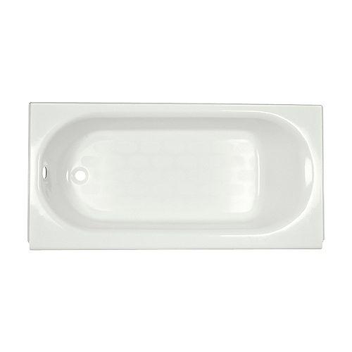 American Standard Princeton baignoire en alcove rectangulaire blanche de 60 pouces avec vidage ovale à gauche
