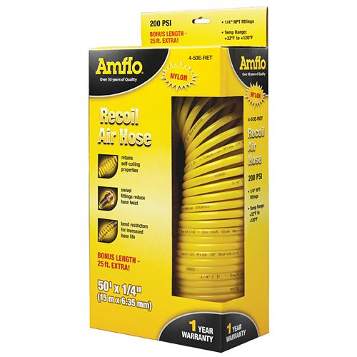 Amflo Nylon Recoil Air Hose - 1/4 Inch x 50 Feet