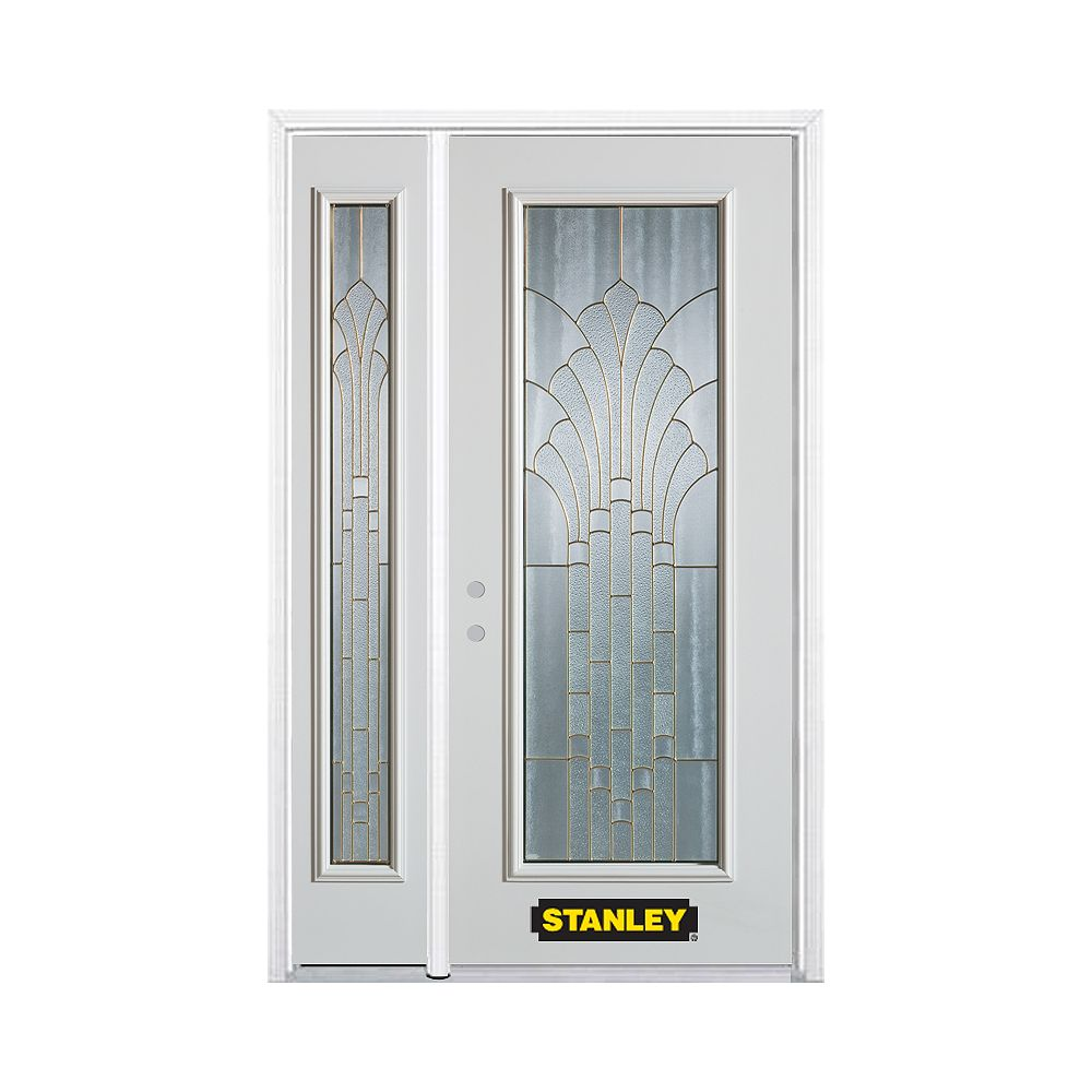 STANLEY Doors 50.25 inch x 82.375 inch Gladis Brass Full Lite Prefinished White Right-Hand Inswing Steel Prehung Front Door with Sidelite and Brickmould