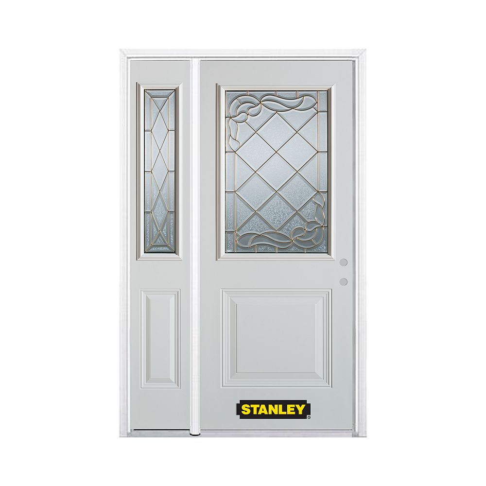 STANLEY Doors 52.75 inch x 82.375 inch Queen Anne Brass 1/2 Lite 1-Panel Prefinished White Left-Hand Inswing Steel Prehung Front Door with Sidelite and Brickmould