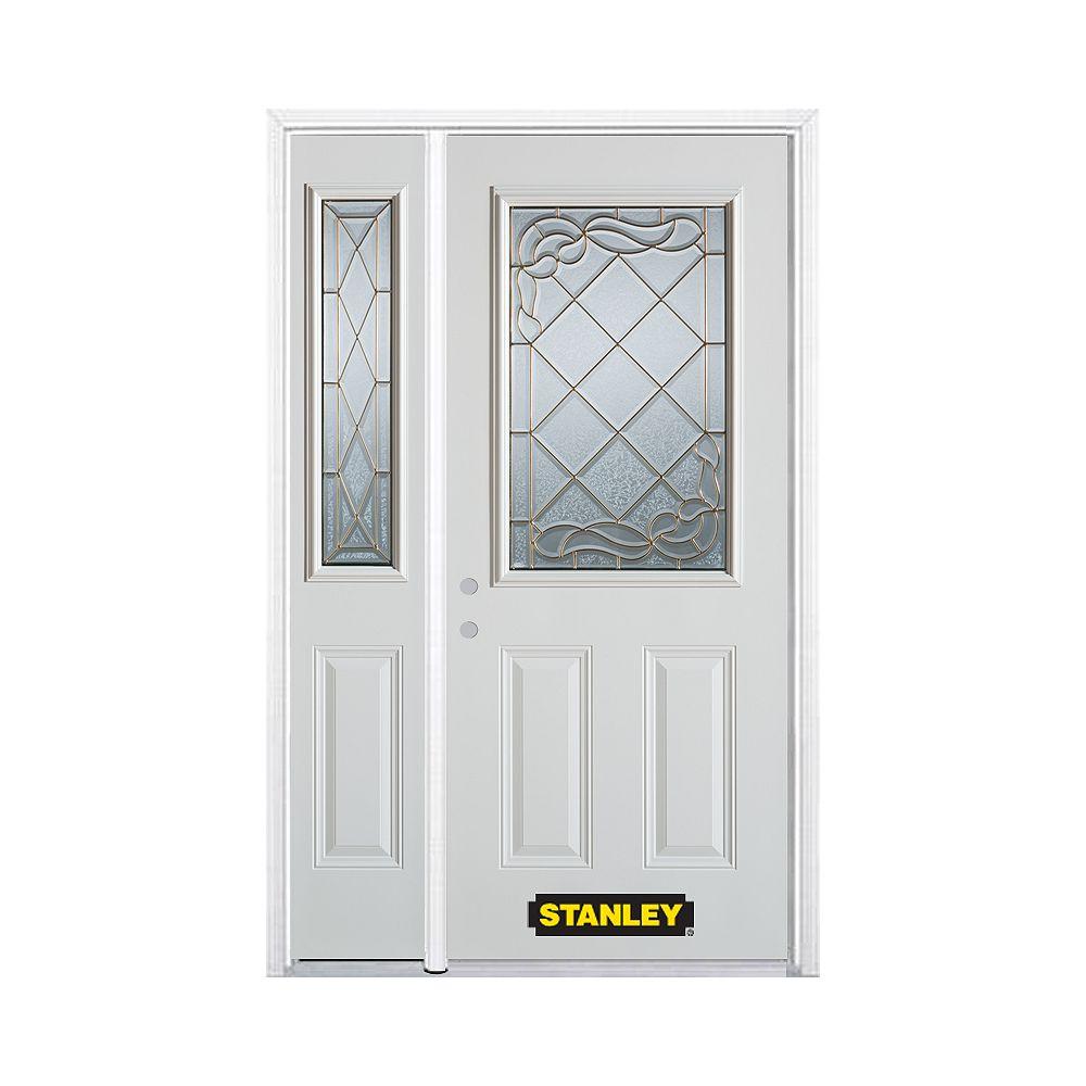 STANLEY Doors Porte dentrée en acier préfini en blanc, munie de deux panneaux et dun 1/2 verre, 53 po x 82 po avec panneaux latéraux et moulure de brique - ENERGY STAR®
