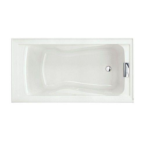 American Standard Evolution 5 Feet Alcove baignoire rectangulaire en acrylique avec vidage à droite en blanc