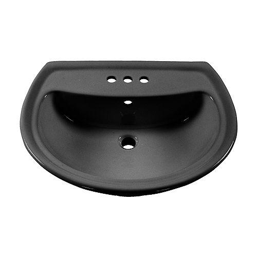 American Standard Lavabo sur pied pour salle de bain des cadets avec trous de robinet de 4 pouces en noir