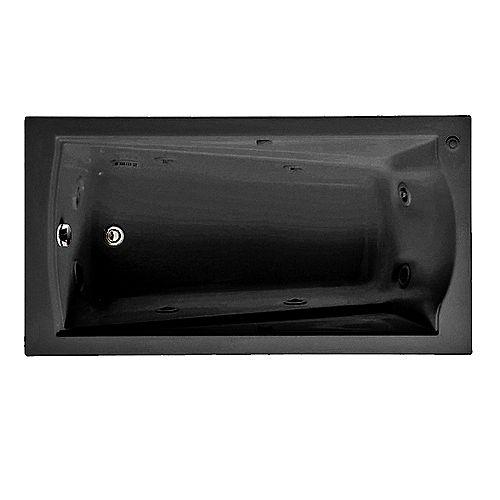 American Standard Baignoire à remous de 1,5 m avec tablier intégré et vidage à droite en noir