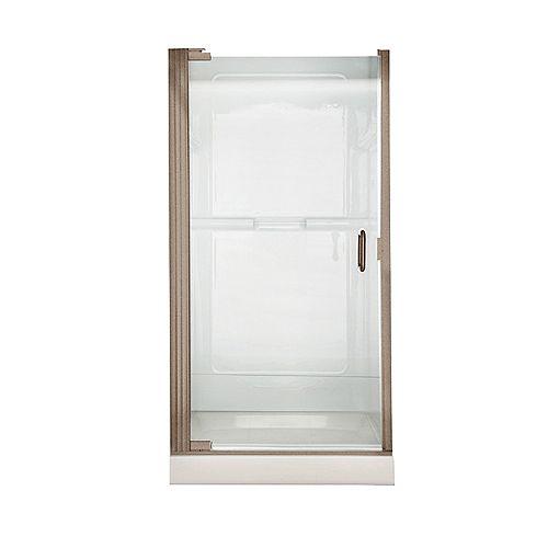 American Standard Euro 36,0625 pouces L x 65,5625 pouces H Porte de douche pivotante à charnière continue sans cadre en nickel brossé avec verre transparent