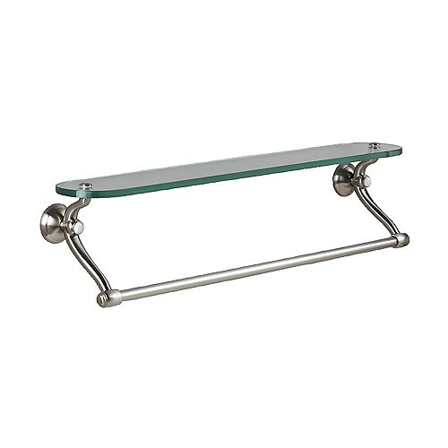 American Standard Standard Collection 24-inch Bathroom Shelf with Glass in Satin Nickel