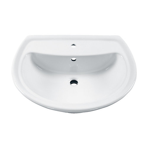 Cadet 6-inch Bathroom Pedestal Sink Basin with Centre Hole in White