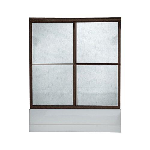 American Standard Porte de douche Prestige de 48 pouces de large x 71,5 pouces de haut avec cadre de dérivation, en finition bronze huilé et verre antipluie