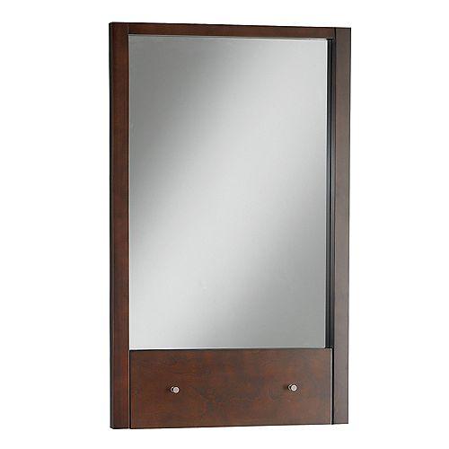 Miroir rectangulaire Cascada comprenant tablette escamotable, couleur tabac