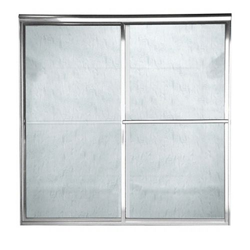 American Standard Prestige 48-inch W x 71.5-inch H Framed Bypass Door in Silver Finish with Rain Glass