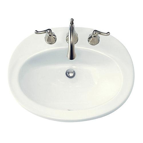 Lavabo sur le comptoir avec rebord intégré Piazza™ avec centres de 8 po et trop-plein à l'avant, blanc