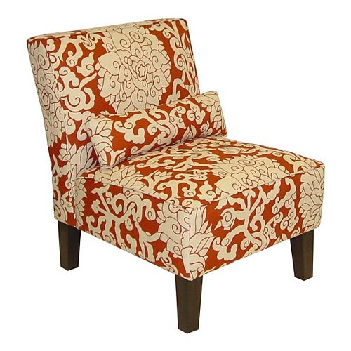 Traditional Slipper Accent Chair in Red with Damask Pattern