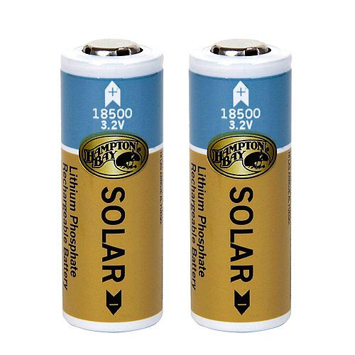 1000mAh Lithium Phosphate Solar Rechargeable Batteries (2-Pack)