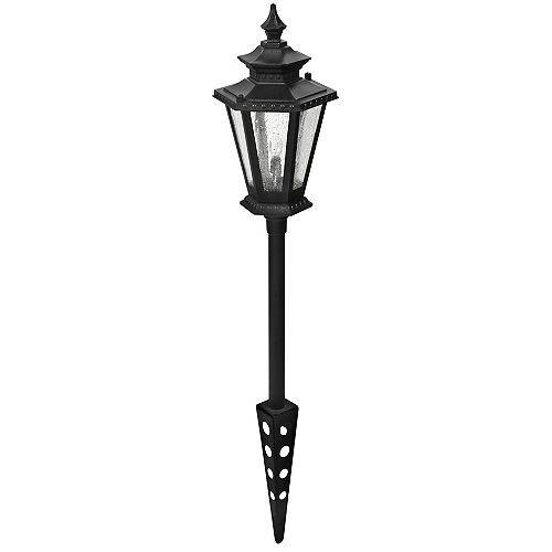 Hampton Bay LowVage 11W Black Outdoor Cast Aluminum 6-Sided Landscape Path Light with Seeded Glass Lens