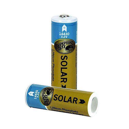 Lithium Phosphate 400mAh Solar Rechargeable 14430 Batteries (2-Pack)